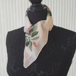 Flowers on White Square Scarf